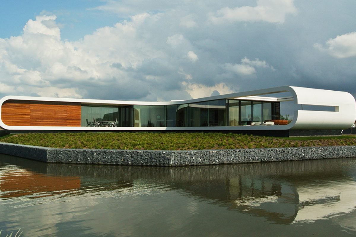 DuPont™ Corian® creates a sleek and sophisticated façade to wrap an avant-garde residence projected by Koen Olthuis