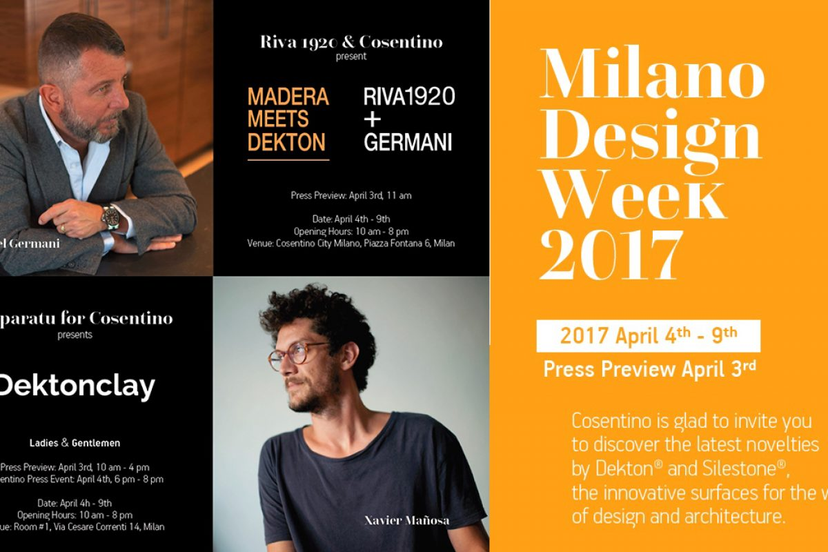 Projects by Dekton by Cosentino at Milan Design Week 2017 with Riva 1920 and Daniel Germani and with Apparatu