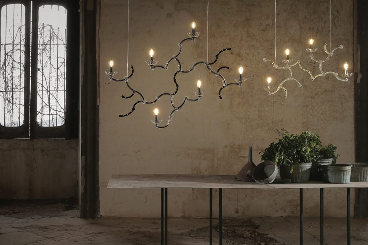 The canals of Venice inspire the sculptural and dramatic Ghebo lamp designed by Luca De Bona and Dario De Meo for Karman