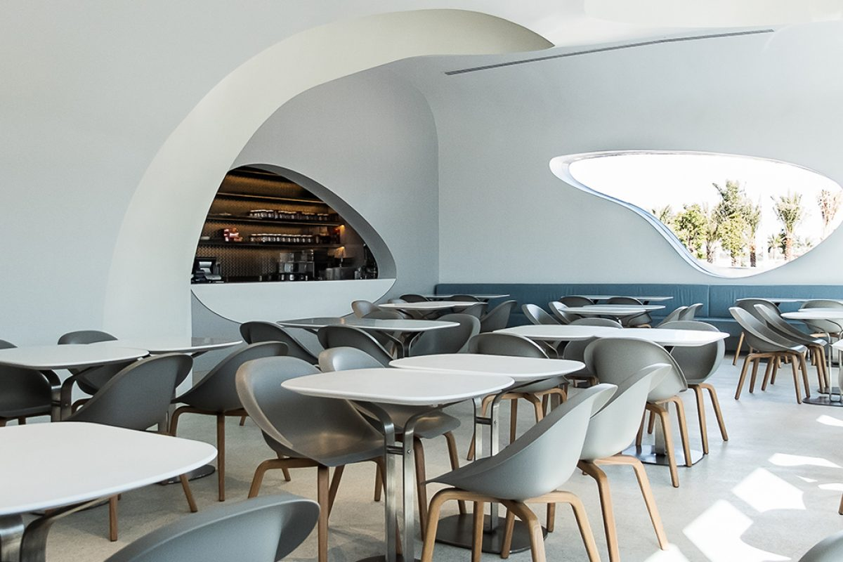 Case Studies – Hoop chair by B-Line at the new Switch Restaurant in Abu Dhabi. Karim Rashid designed both, the space and the chair