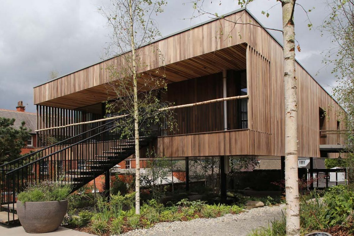 dRMM designed the Maggie's Oldham, the world's first building made from hardwood cross-laminated Tulipwood