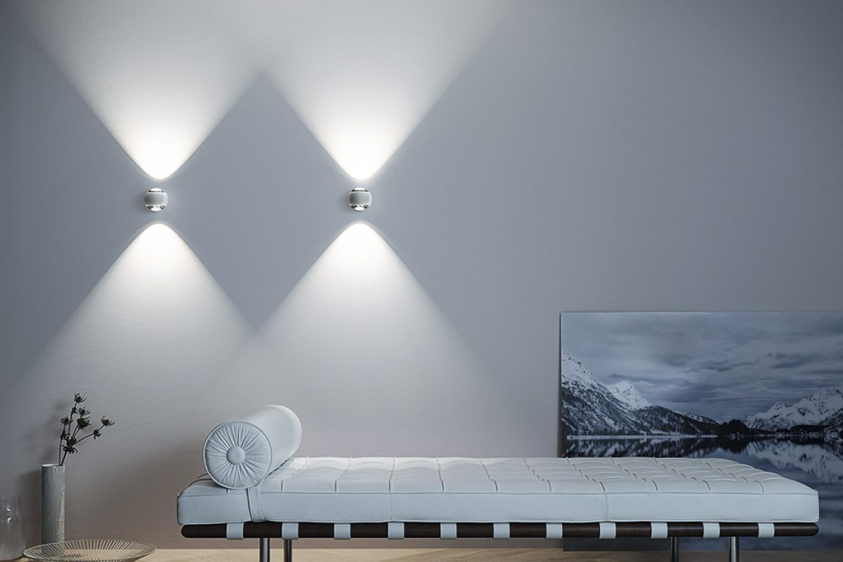 Occhio io verticale wall fixture. Elegant, compact and powerful, up and down, and rotating 360º
