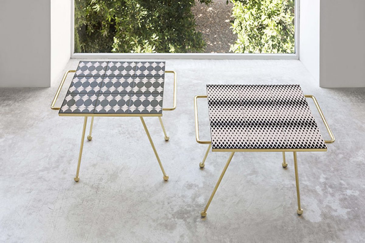 Gan turns into side tables the award winning trays collection Mix&Match designed by Flavia del Pra