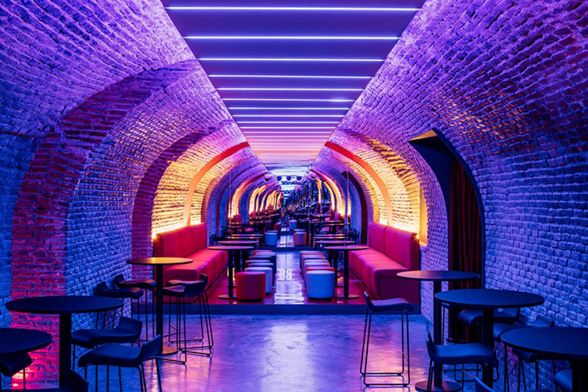 El Equipo Creativo designed Bala Perdida Club, a transformed space in the underground of a palace of the eighteenth century