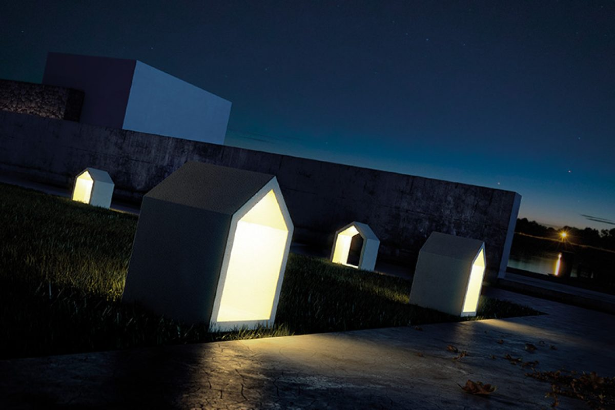 White House by David Abad for B.lux. A luminaire linked to architecture by its shapes and concrete