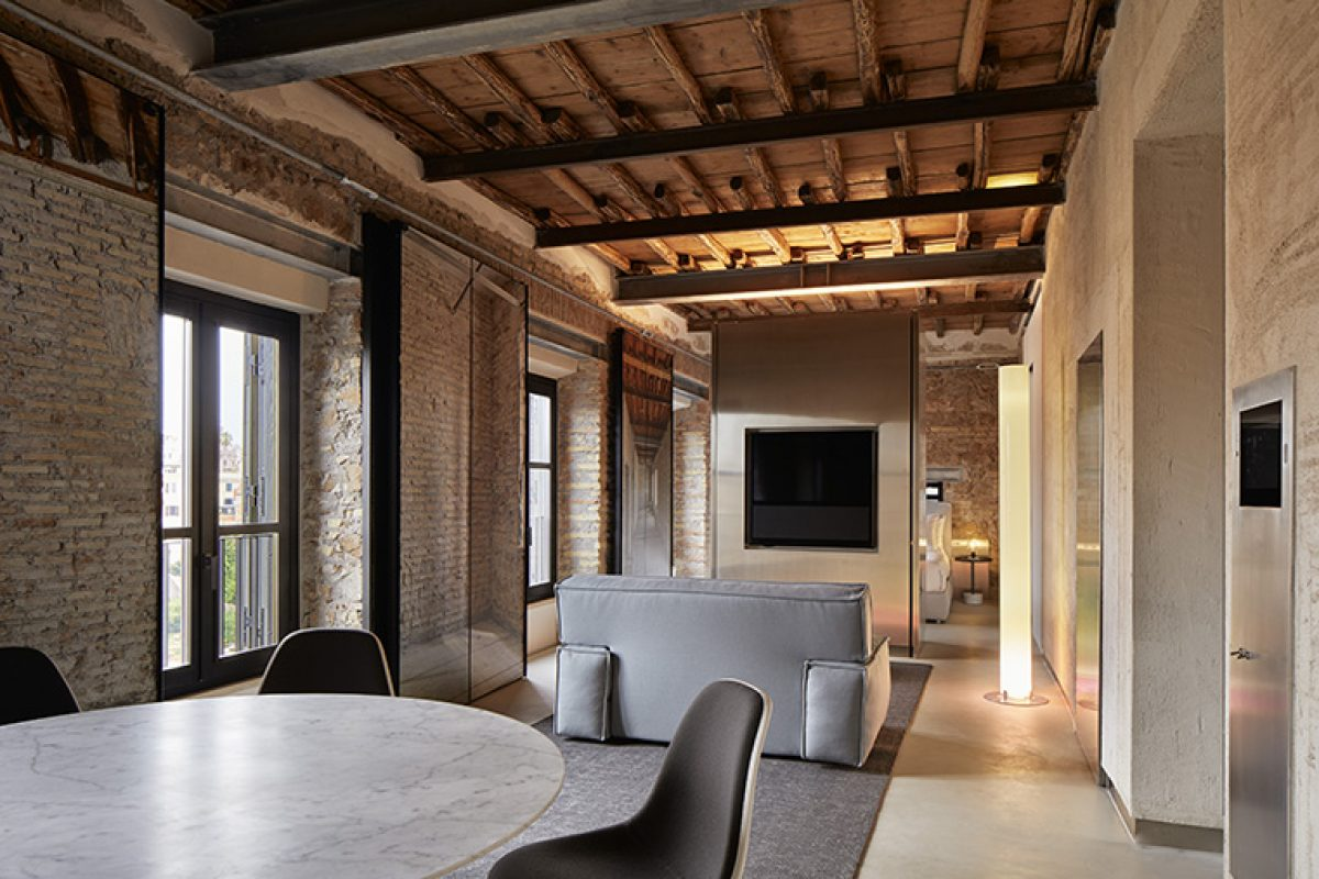 Jean Nouvel designed The Rooms of Rome, the luxury apartments at palazzo rhinoceros managed by Kike Sarasola