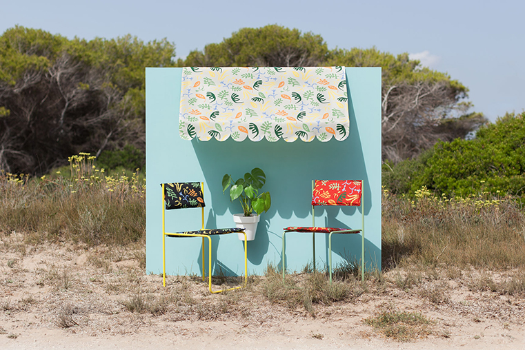 Javier Mariscal designed the Russafa collection for Equipo DRT. Outdoor fabrics with Mediterranean essence