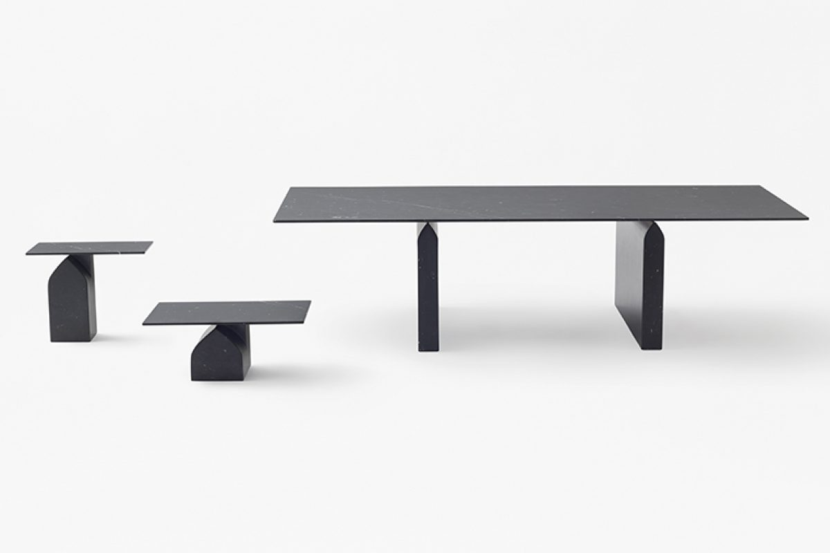 nendo designed Seesaw for Marsotto edizioni, a table collection made with from carrara marble with weightlessness feeling