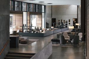 The elegant lighting by Vibia dresses the awesome Retreat Hotel at Blue Lagoon