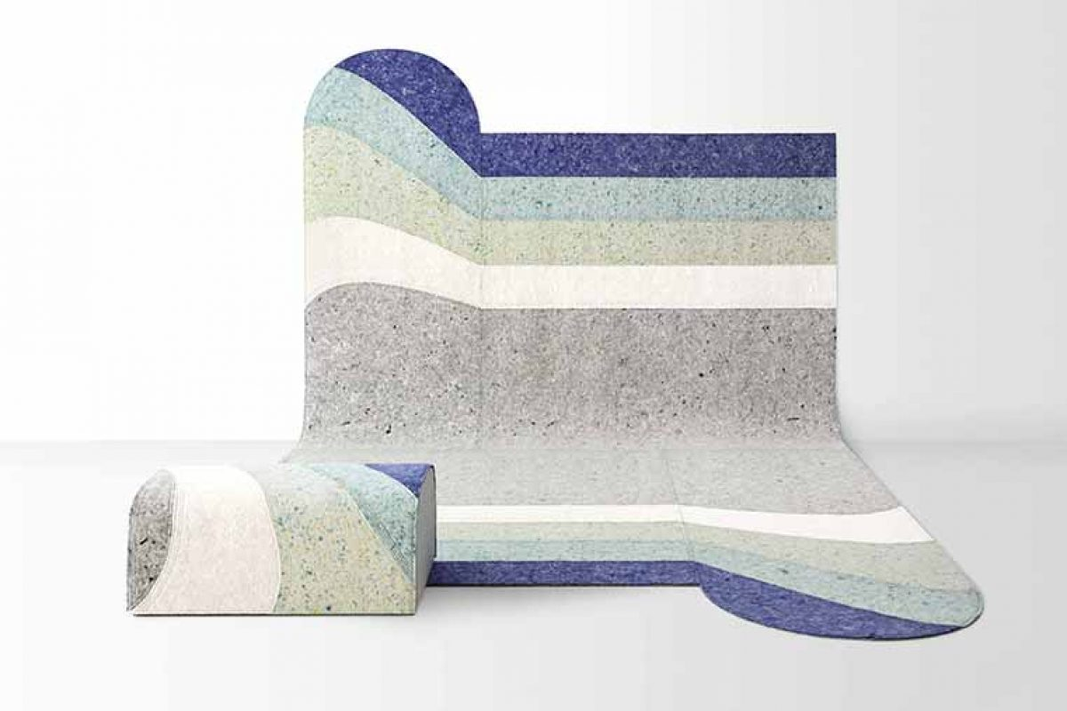 Naunces by Patricia Urquiola for Gan. A play of shapes and shades on sustainable felt