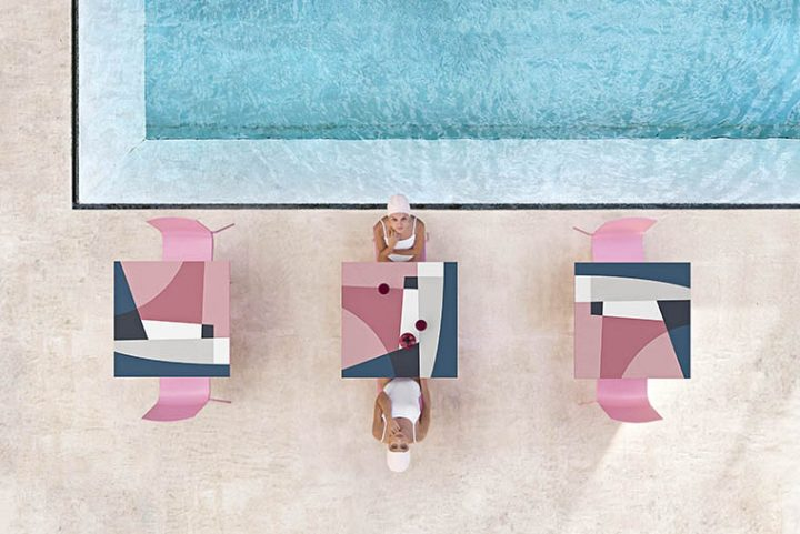 The characteristic design by Jonathan Lawes dresses with graphics the Abstrakt Mona table collection of Diabla