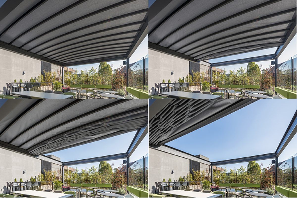 Gennius Isola 2, the versatile and minimalist pergola by KE at the Theatercafe of Hasselt, Belgium