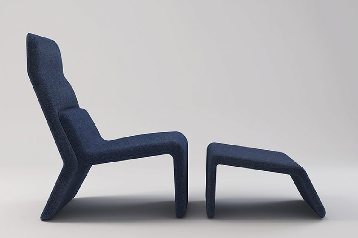 Tape, the armchair that turns into a chaise-longue, designed by Radice Orlandini for Baleri Italia