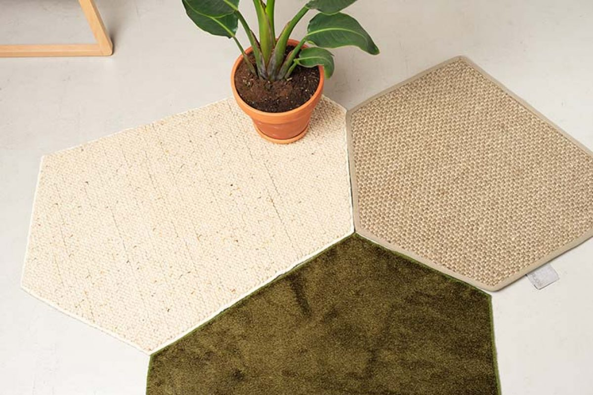 Nutcreatives designed the Trencadís sustainable collection for Barcelona Rugs, modular carpets made from pre-consumer waste