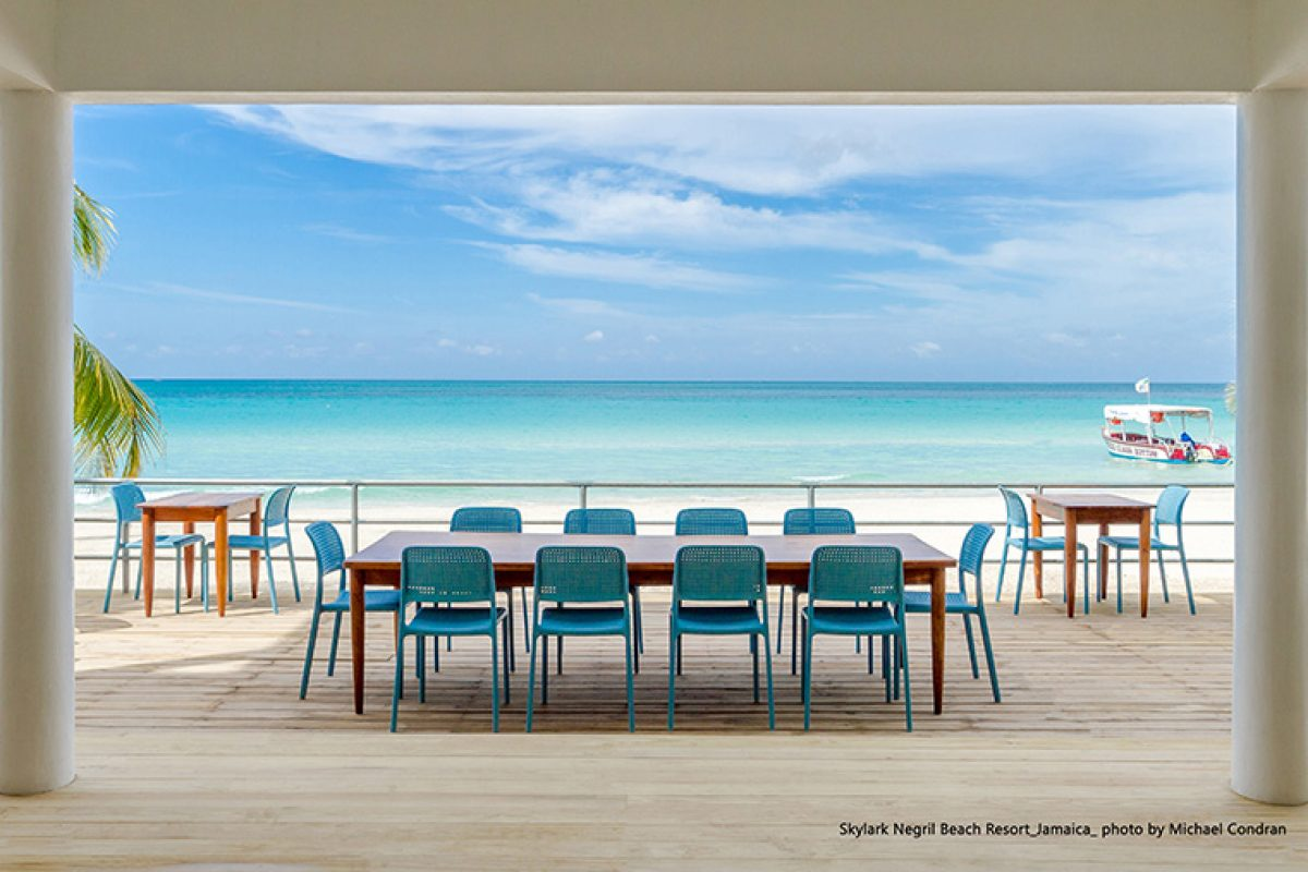 Nardi's furniture brings contrast to the outdoor spaces of the Skylark Hotel in Jamaica
