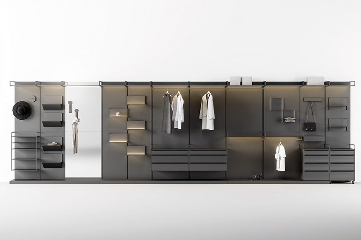 Materika by Gino Carollo for Ronda Design. Modular textured magnetism enters the walk-in wardrobe