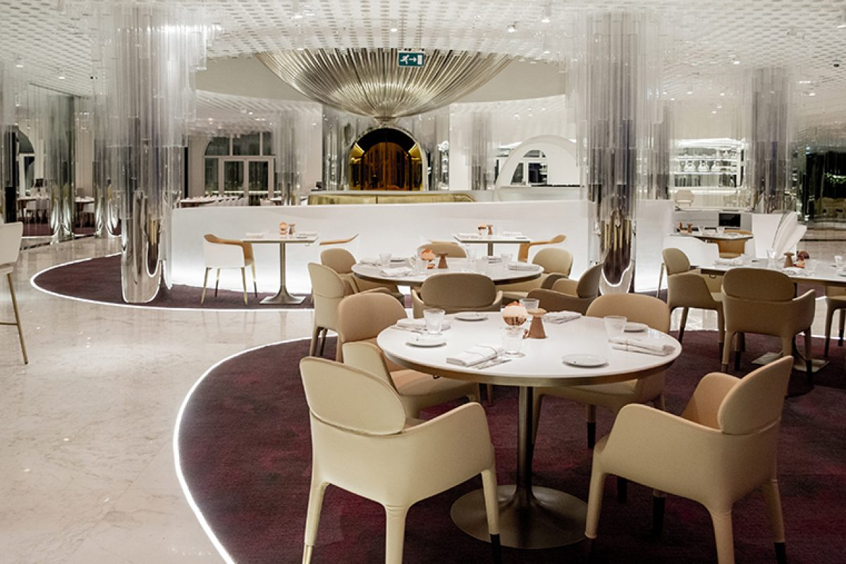 Clavel Arquitectos designed the miX Restaurant by Alain Ducasse in Dubai inspired by Fabergé eggs