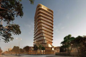 Zain Tower, the mid-rise office building in Khartoum projected by AQSO