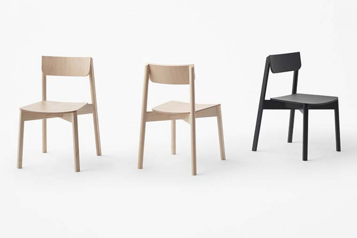 nendo designed «blade», a new chair collection that combine rounded and square shapes
