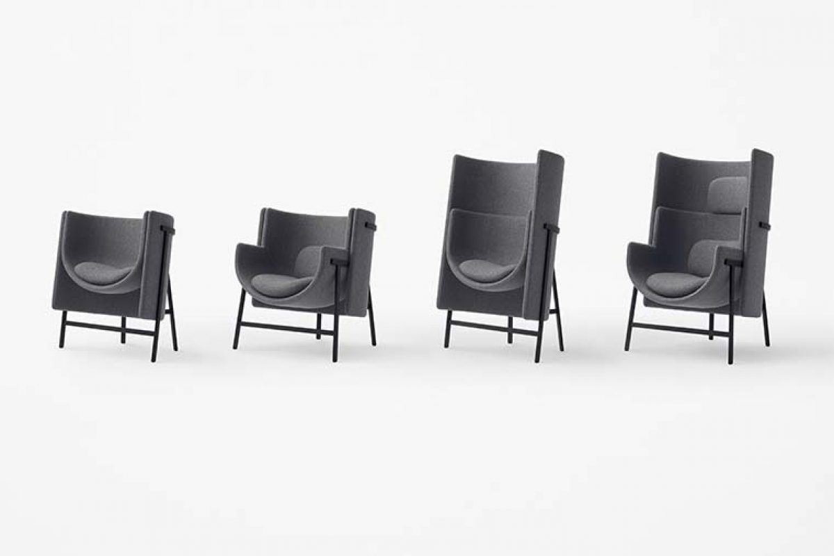 nendo designed Kite for Stellar Works, the armchair for narrow spaces