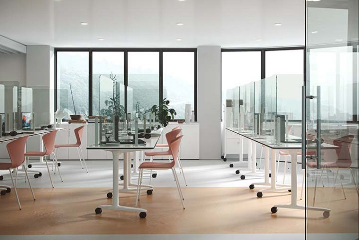 Adaptable furniture is installed in classrooms to ensure social distancing measures are respected