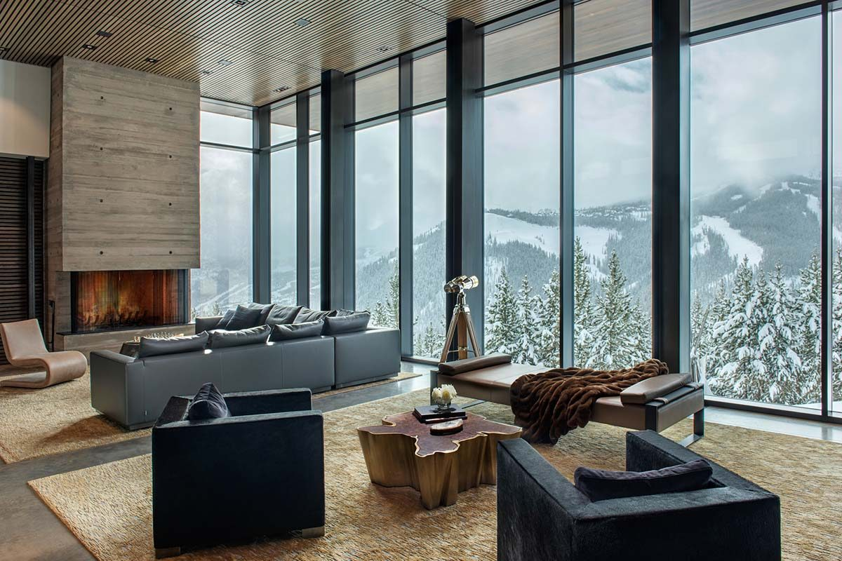 Yellowstone Residence by Stuart Silk Architects. Steel and concrete at a height of 8,100 feet